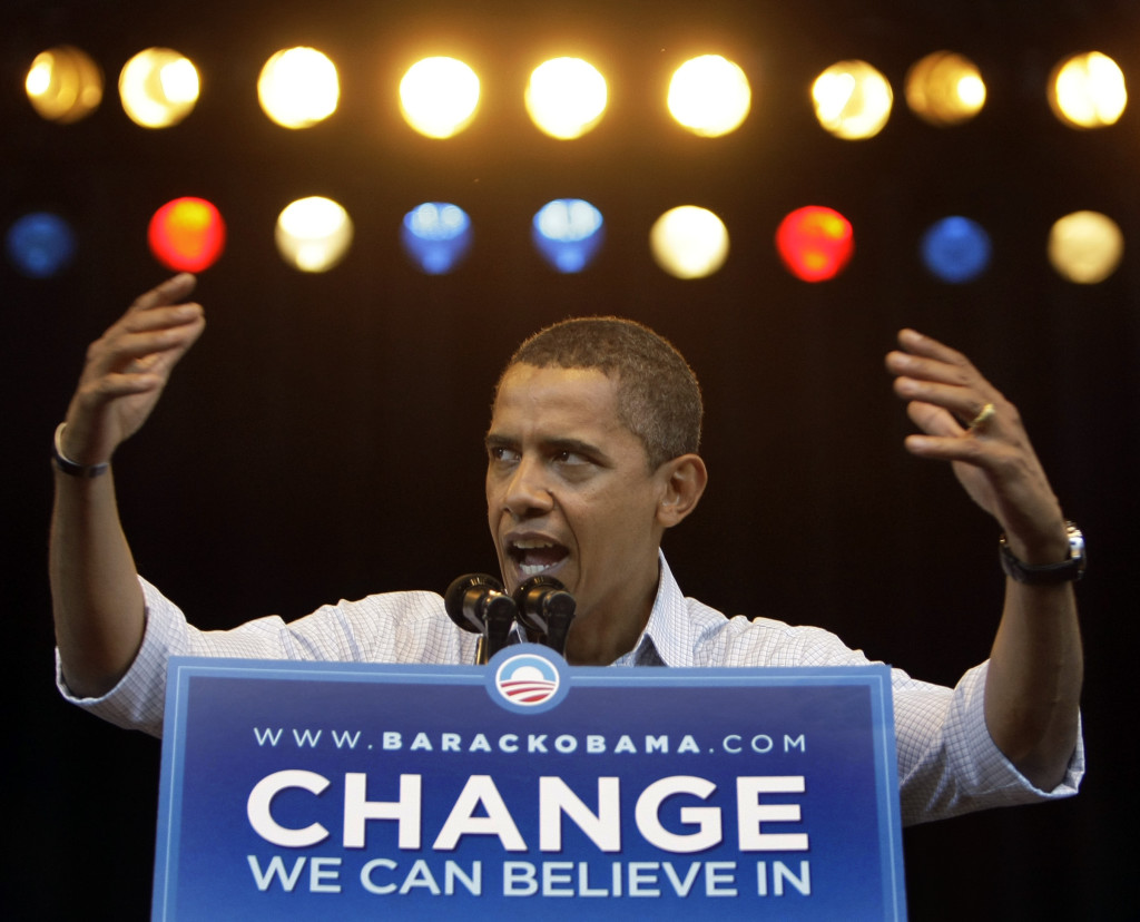ap foto : alex brandon : file - in this sept. 1, 2008, file photo, then-democratic presidential candidate sen. barack obama, d-ill., speaks at a rally at the marcus amphitheater in milwaukee.  (ap photo/alex brandon, file) a sept. 1, 2008, file phot barack obam obama 100 days change automatarkiverad